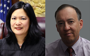 Judge Deborah Chuang and Challenger Eugene Jizhak