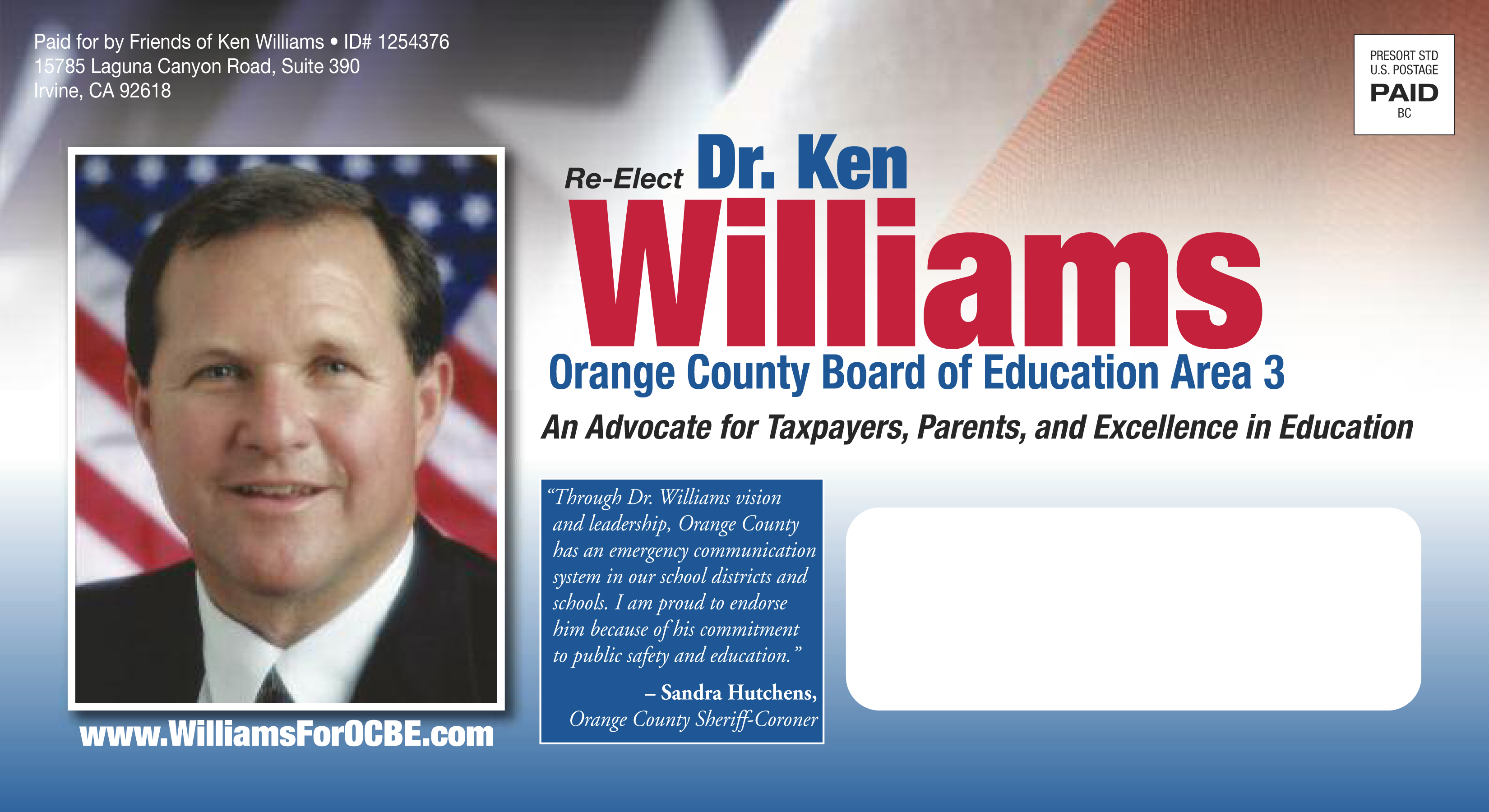 Ocbe 3 mailbox williams in the mail press release oc for Campaign mailer template