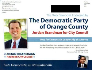 Brandman Mailer to Democrats - Front Side