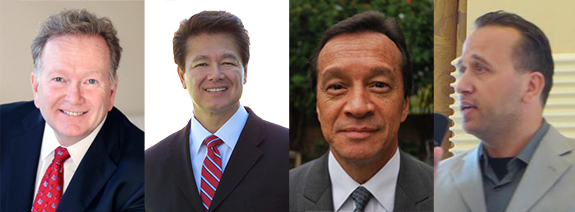 "Auditor-Controller Candidates Eric Woolery, John Wayne Willard, Frank Davies, and Mike ""Mike"" Dalati.  OC Political was unable to find a photo of James T. Benuzzi."