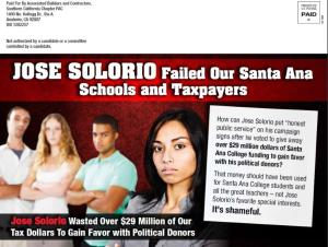 Recent campaign mail sent by the Associated Builders and Contractors highlighting Jose Solorio's forced union agreement (PLA) at Santa Ana College in the RSCCD.