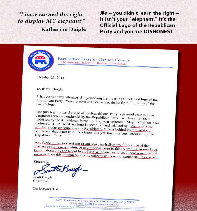 OCGOP Mailer Re Daigle Letter (Back)
