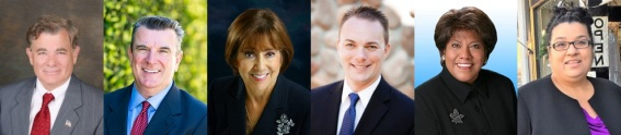 Candidates for 4th Supervisorial District: Mayor Doug Chaffee (D-Fullerton), Retired Fire Captain Joe Kerr (D-Brea), Councilwoman Lucille Kring (R-Anaheim), Mayor Tim Shaw (R-La Habra), Councilwoman Rose Espinoza (D-La Habra), and School Board Member Cynthia Aguirre (D-Brea)