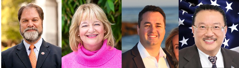 Former Senator John M. W. Moorlach (R), Costa Mesa Mayor Katrina Foley (D), Newport Beach Councilman Kevin Muldoon (R), and Fountain Valley Mayor Michael Vo (R). Photos came from candidates' supervisorial campaign web sites. Attorney Janet Rappaport (D) also qualified for the ballot but did not appear to have a campaign web site.